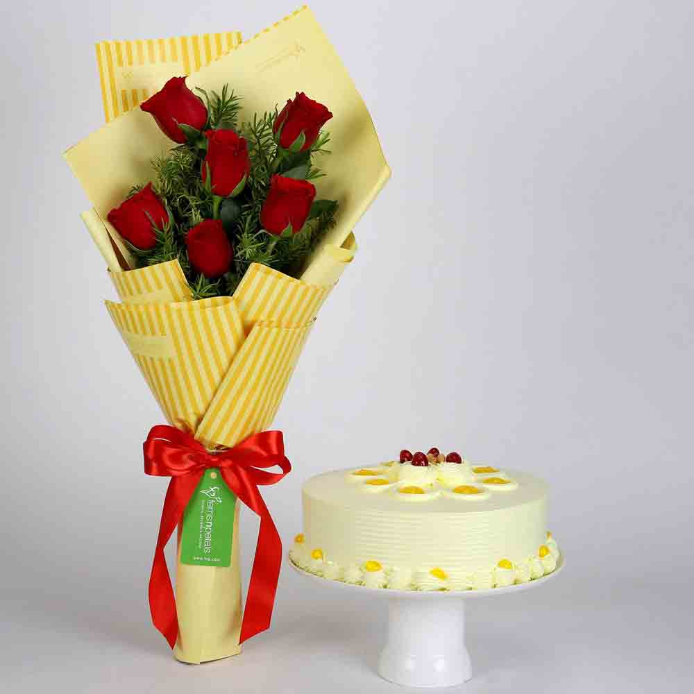 6 Red Roses Bouquet & Butterscotch Cake