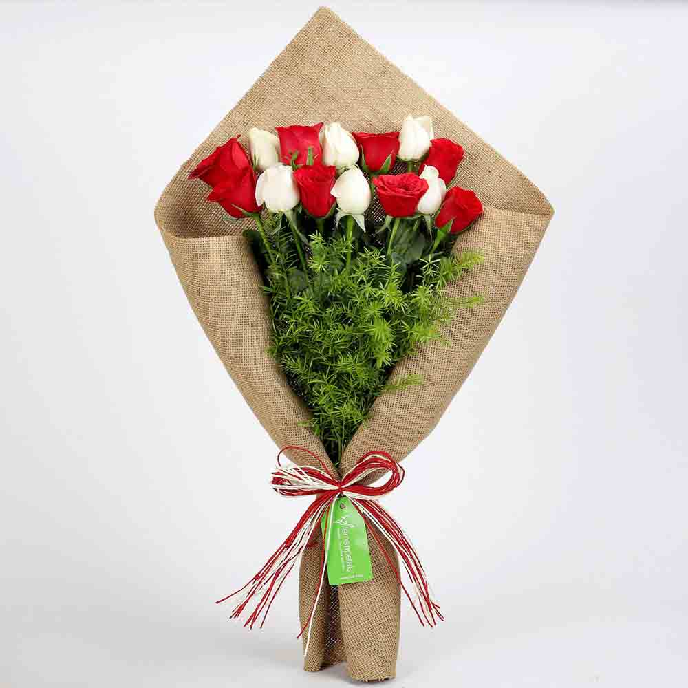 Red & White Roses in Jute Wrapping