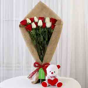 Soft Toy Hampers-Red & White Roses with Teddy Bear