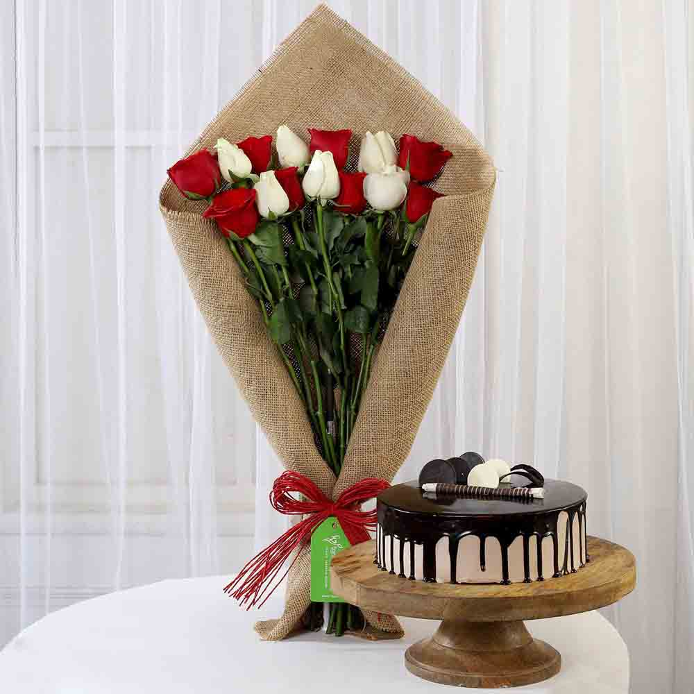 Red & White Roses with Choco Cream Cake