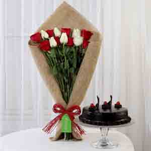 Cakes & Flowers-Red & White Roses with Truffle Cake