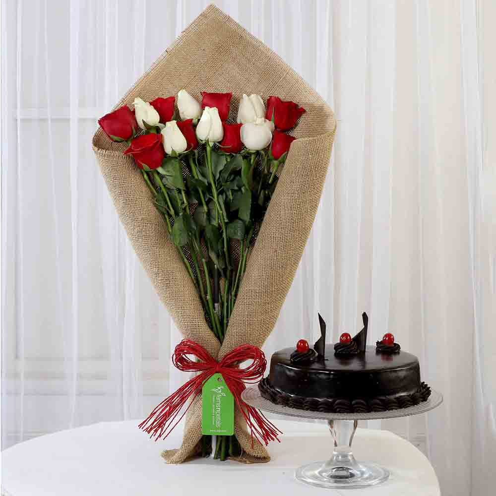 Red & White Roses with Truffle Cake