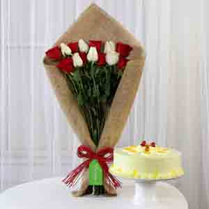 Cakes & Flowers-Red & White Roses with Butterscotch Cake
