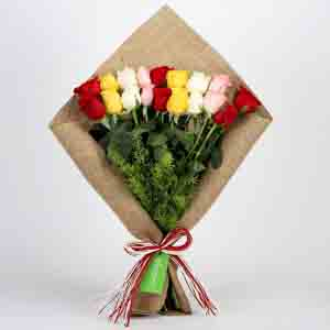 Designer Arrangements-Mix Roses Bouquet in Jute Wrapping
