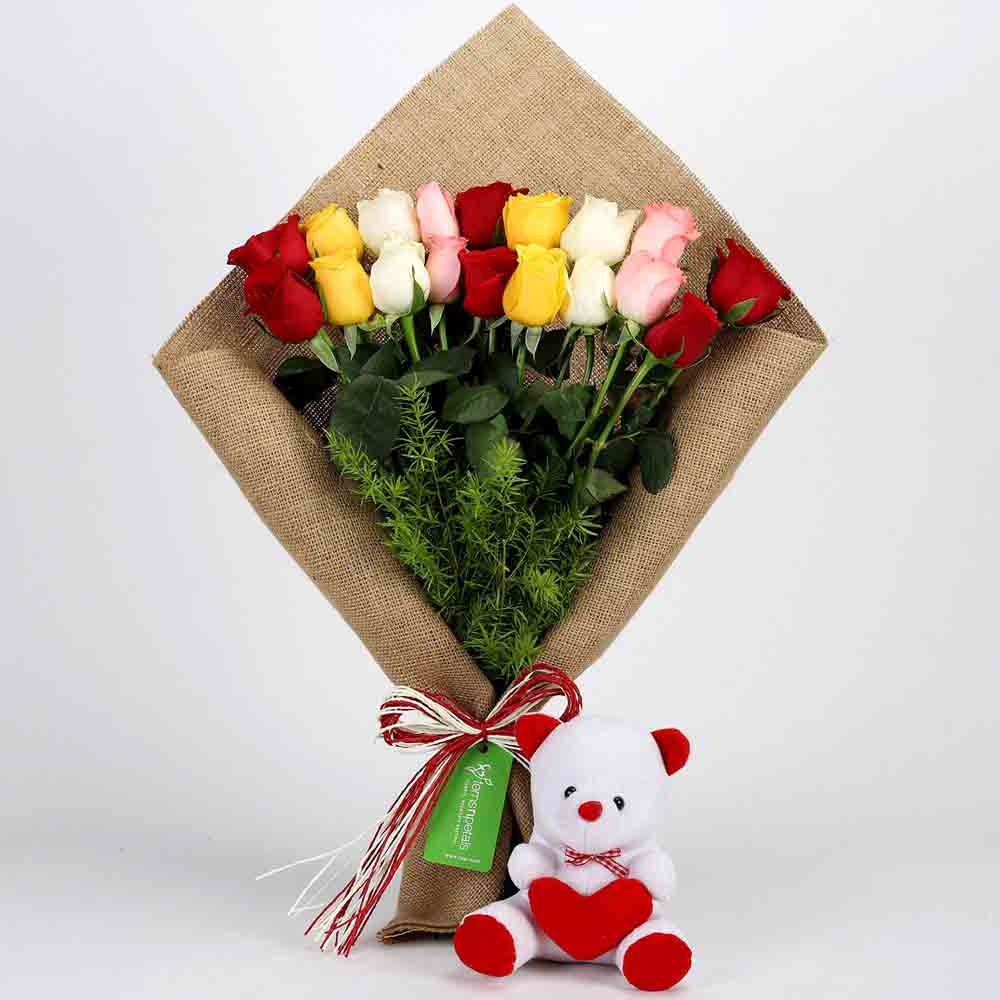 Mix Roses Bouquet & Teddy Bear Combo