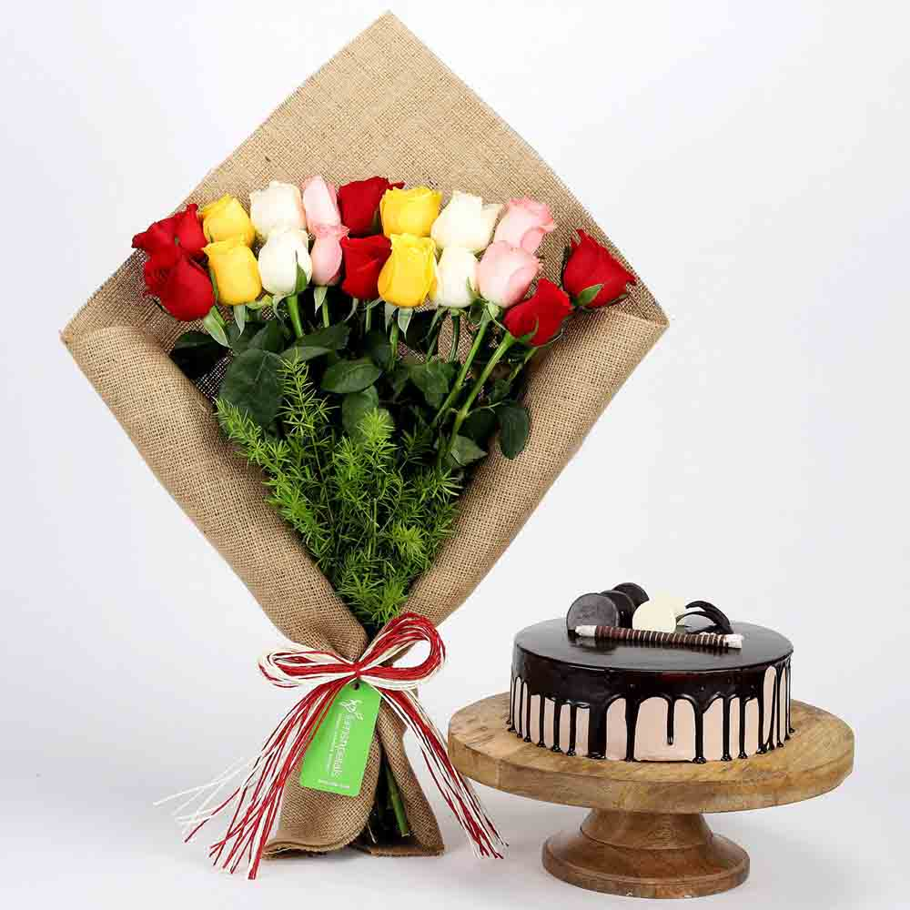 Mix Roses Bouquet & Choco Cream Cake Combo