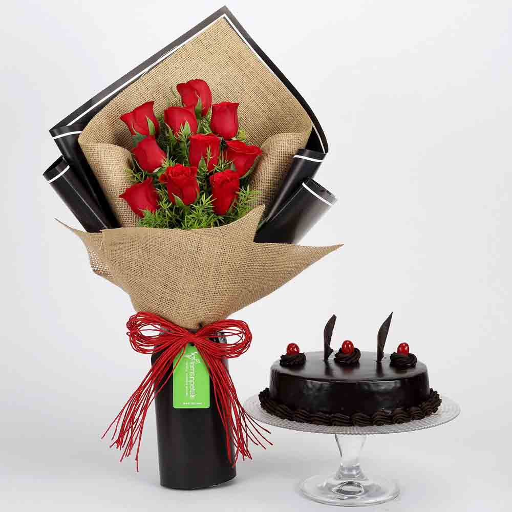 View 10 Red Roses & Truffle Cake Combo