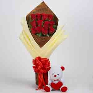 Soft Toy Hampers-12 Red Roses & Teddy Bear Combo