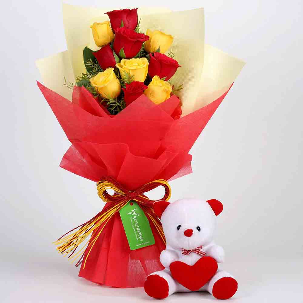 Teddy Bear with Red & Yellow Roses