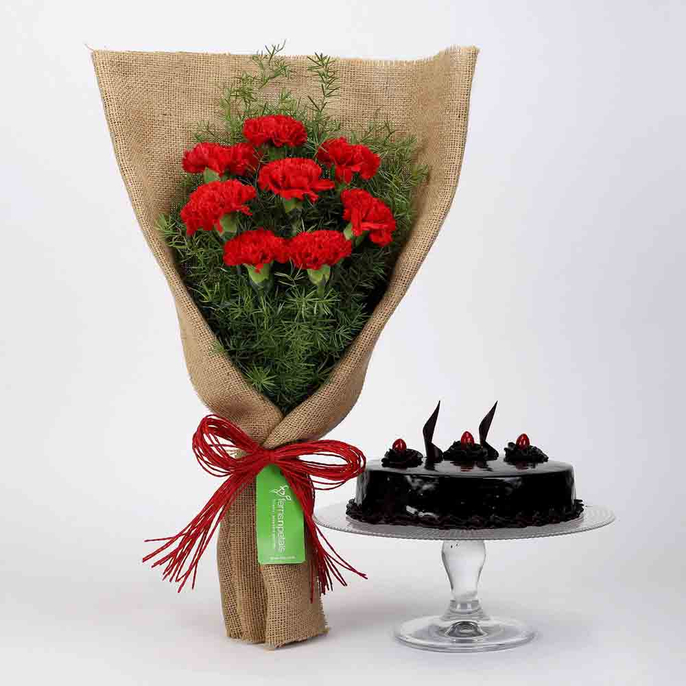 8 Red Carnations & Truffle Cake