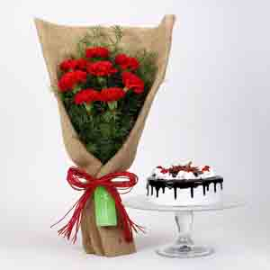 Cakes & Flowers-8 Red Carnations & Black Forest Cake