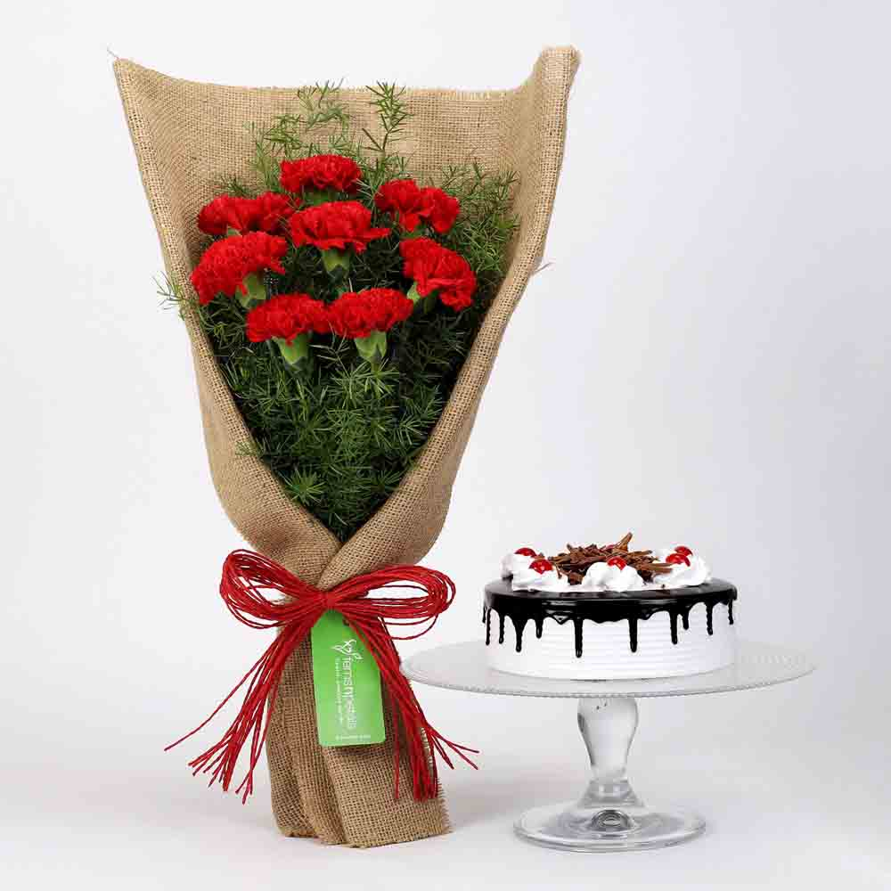 8 Red Carnations & Black Forest Cake