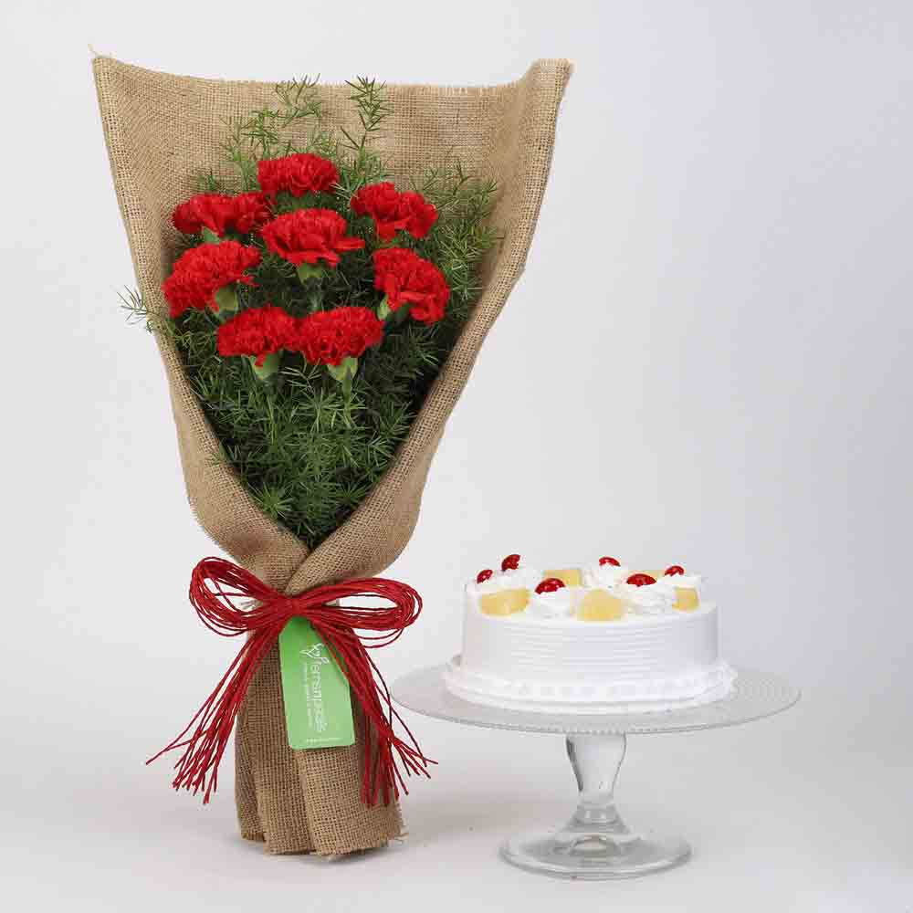 8 Red Carnations & Pineapple Cake