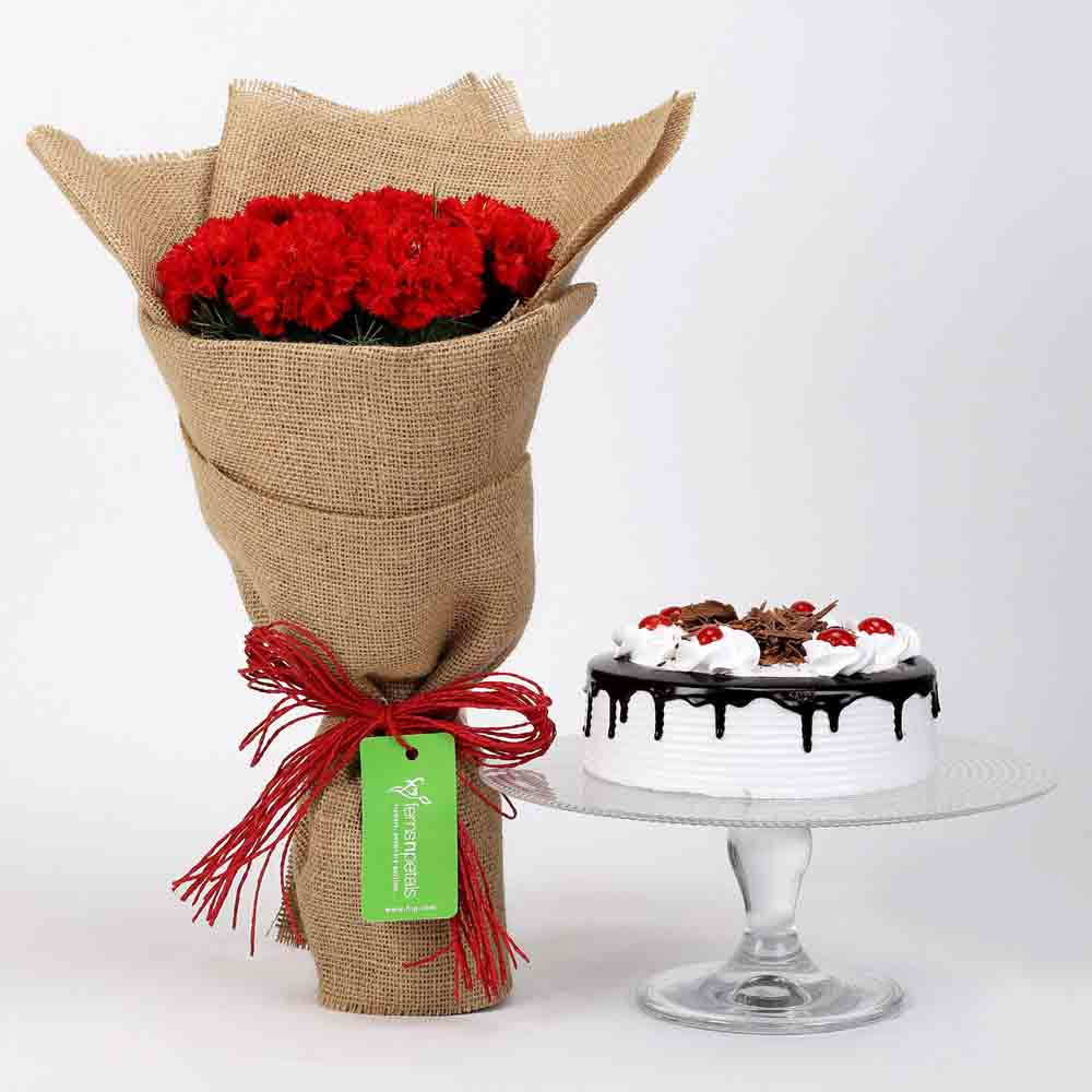 View 10 Red Carnations & Black Forest Cake