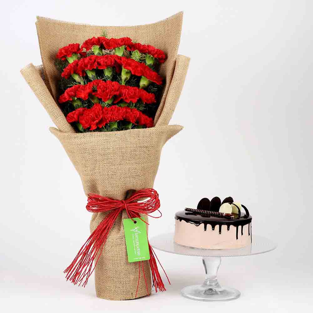 20 Red Carnations & Chocolate Cake