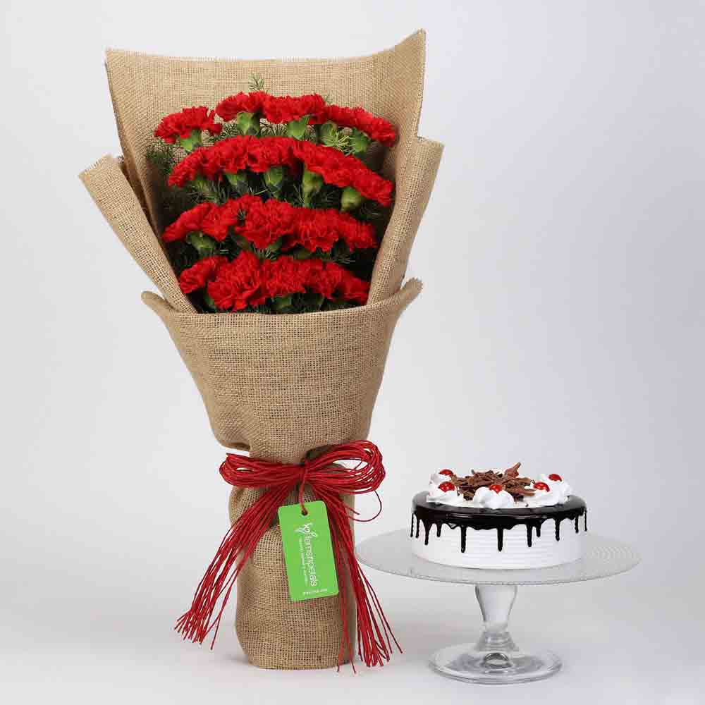 20 Red Carnations & Black Forest Cake