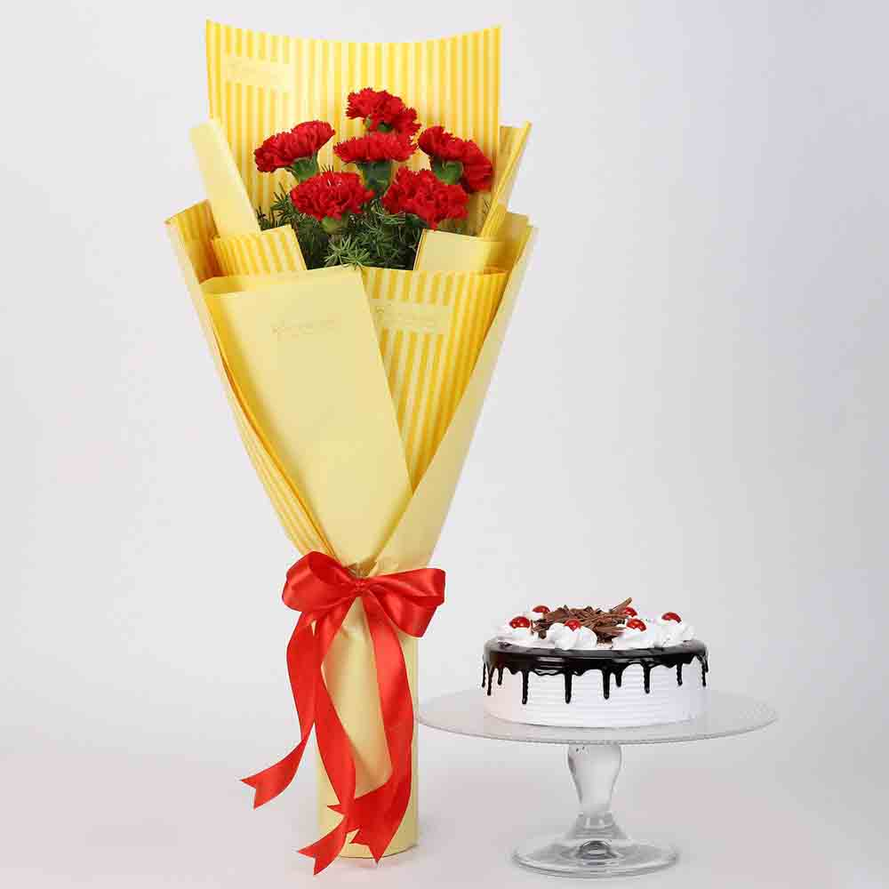 6 Red Carnations & Black Forest Cake