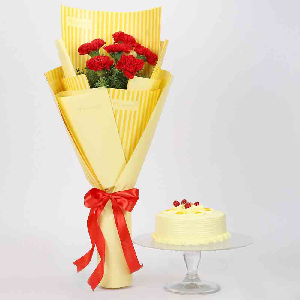 6 Red Carnations & Butterscotch Cake