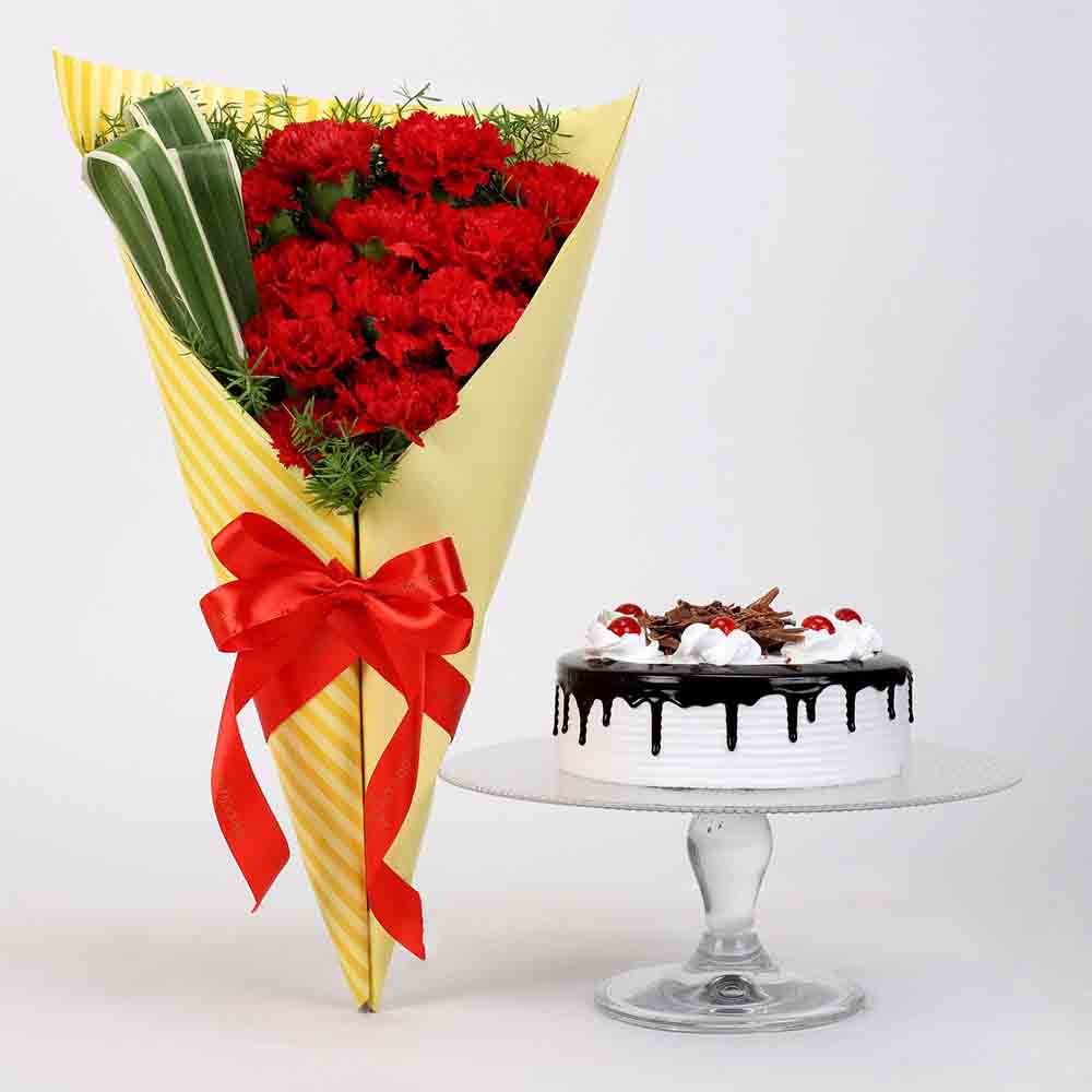 12 Red Carnations & Black Forest Cake
