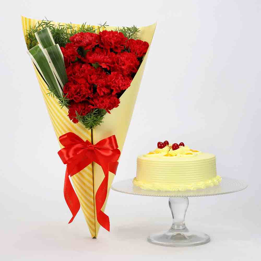 12 Red Carnations & Butterscotch Cake