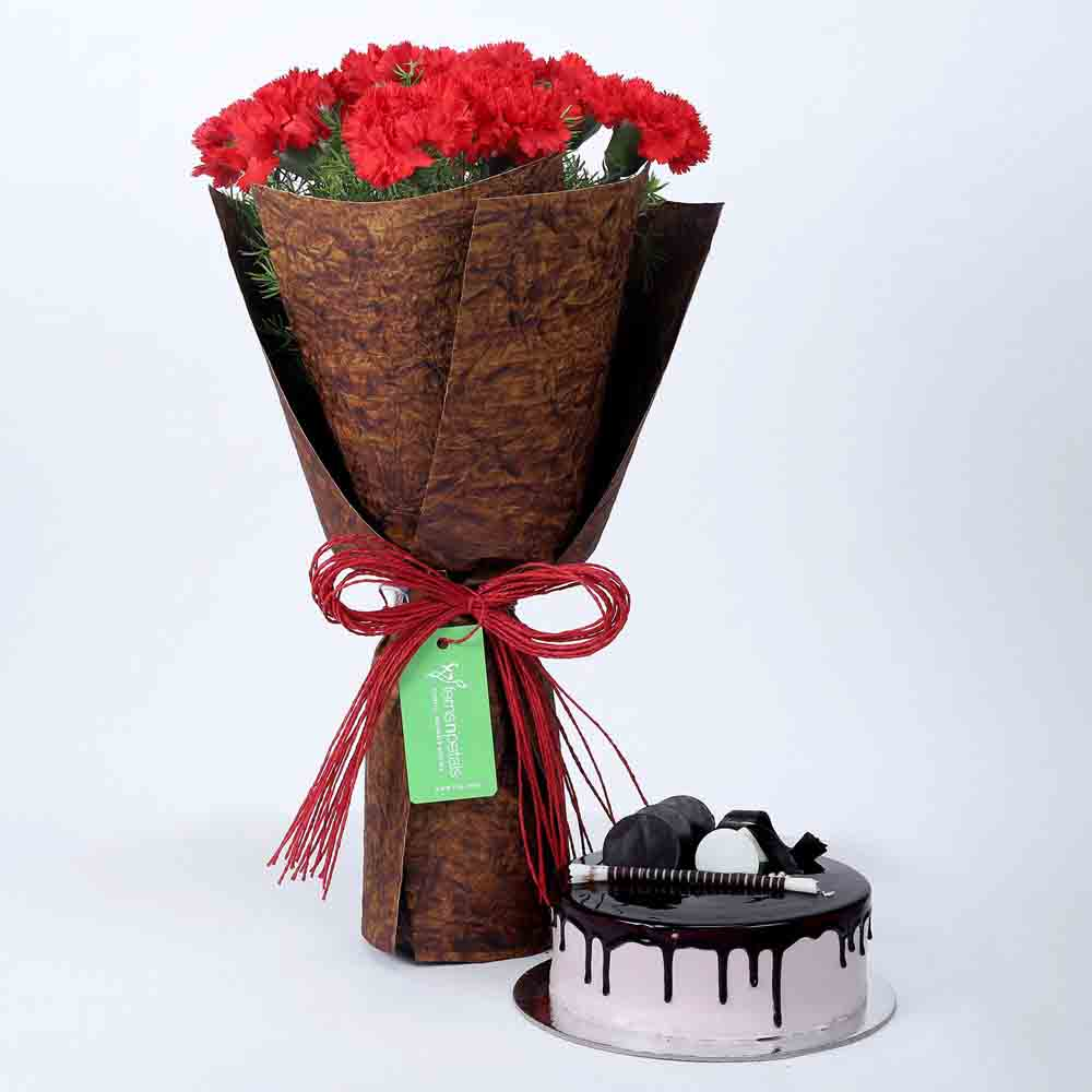 12 Beautiful Red Carnations & Chocolate Cake