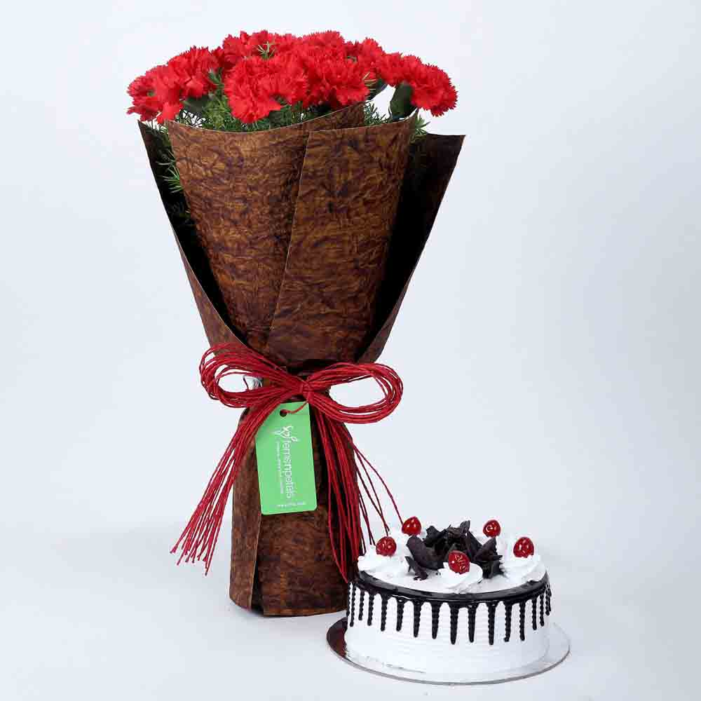 12 Beautiful Red Carnations & Black Forest Cake