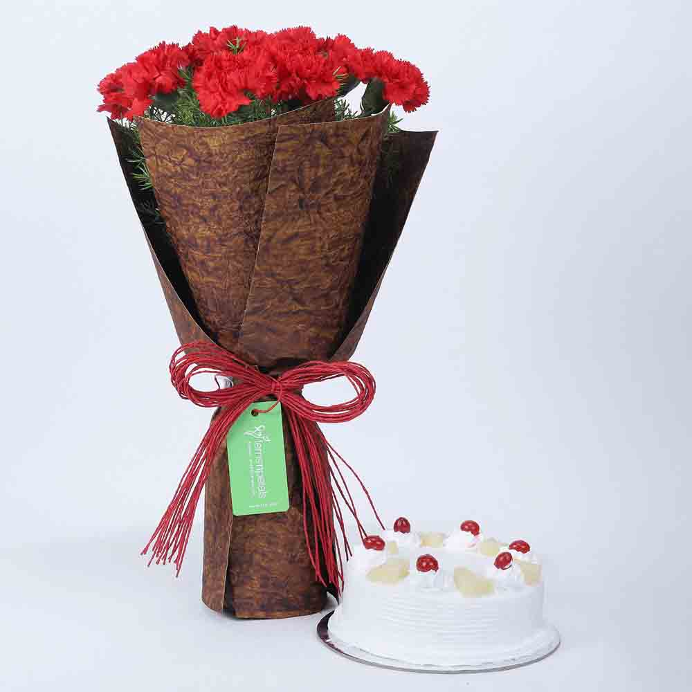 12 Beautiful Red Carnations & Pineapple Cake