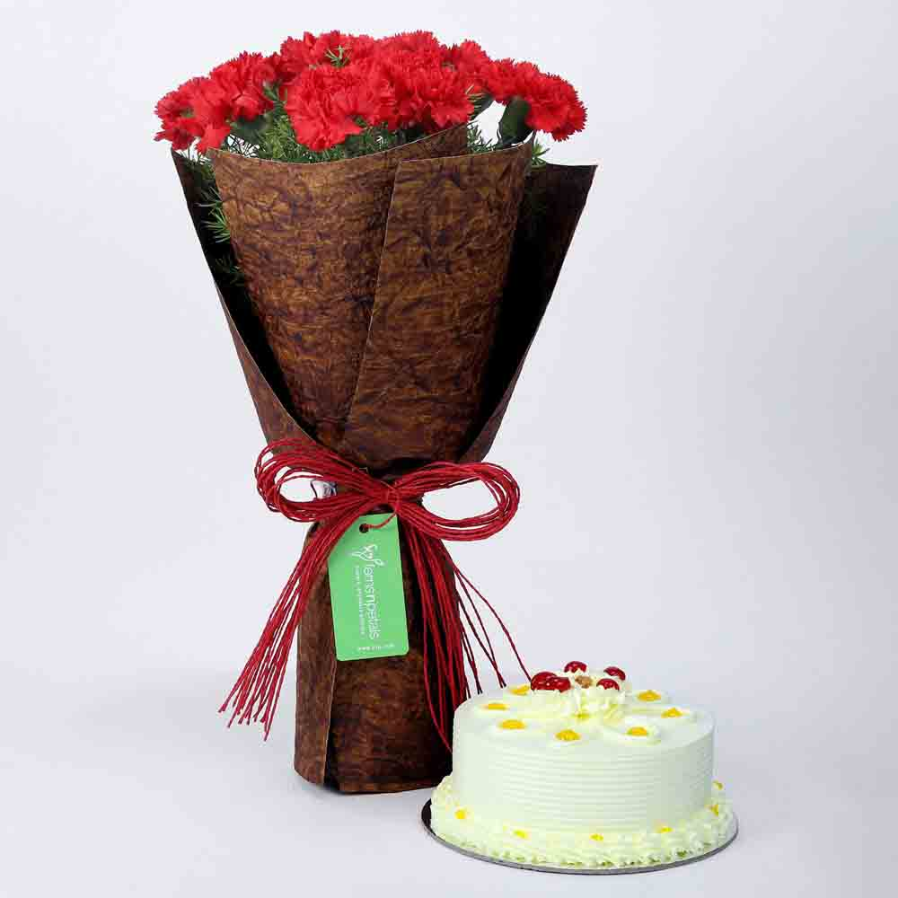 12 Beautiful Red Carnations & Butterscotch Cake