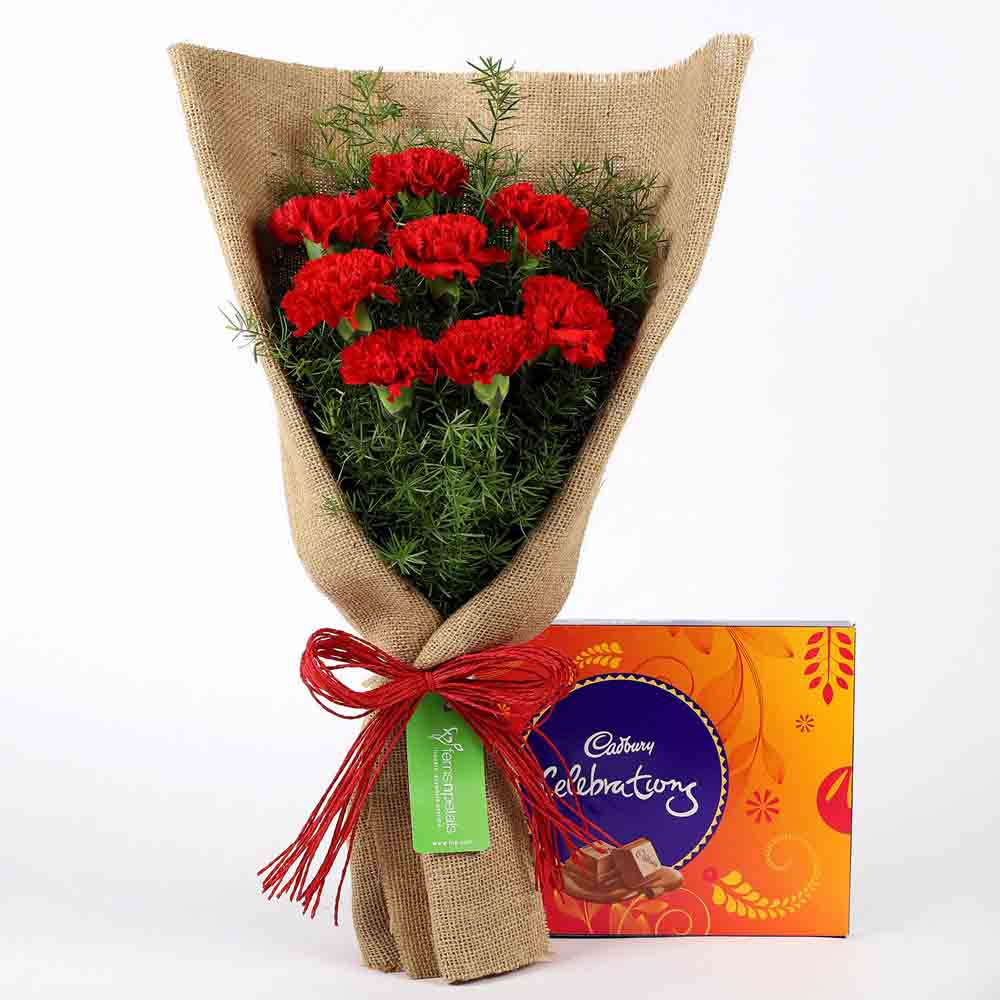 8 Red Carnations & Celebrations Box