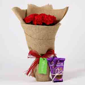 Chocolates & Flowers-10 Red Carnations & Dairy Milk Silk Combo