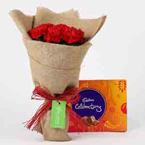 Chocolates & Flowers-10 Red Carnations & Celebrations Box