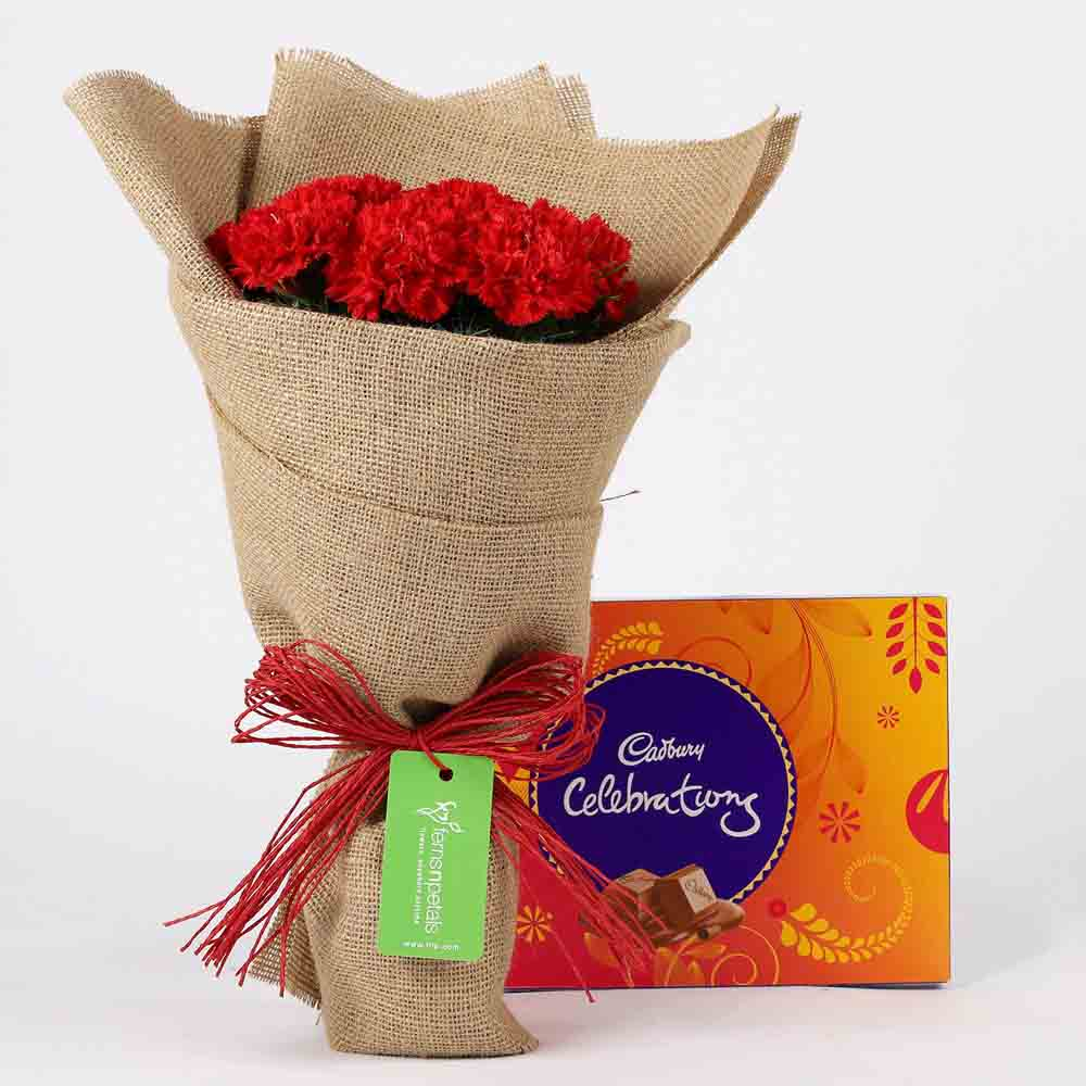10 Red Carnations & Celebrations Box