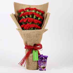 Chocolates & Flowers-20 Red Carnations & Dairy Milk Silk Combo