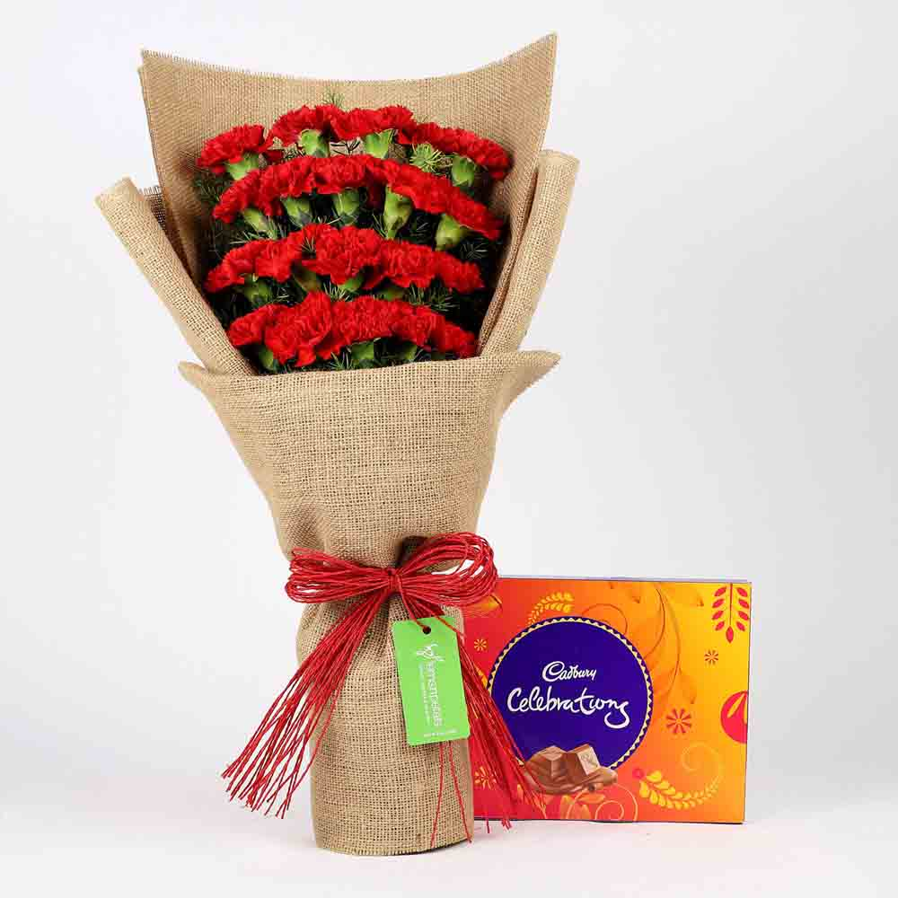 20 Red Carnations & Celebrations Box