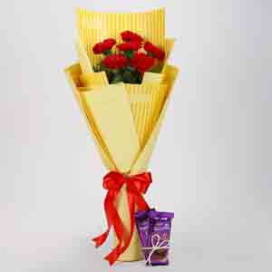 Chocolates & Flowers-6 Red Carnations & Dairy Milk Silk Combo