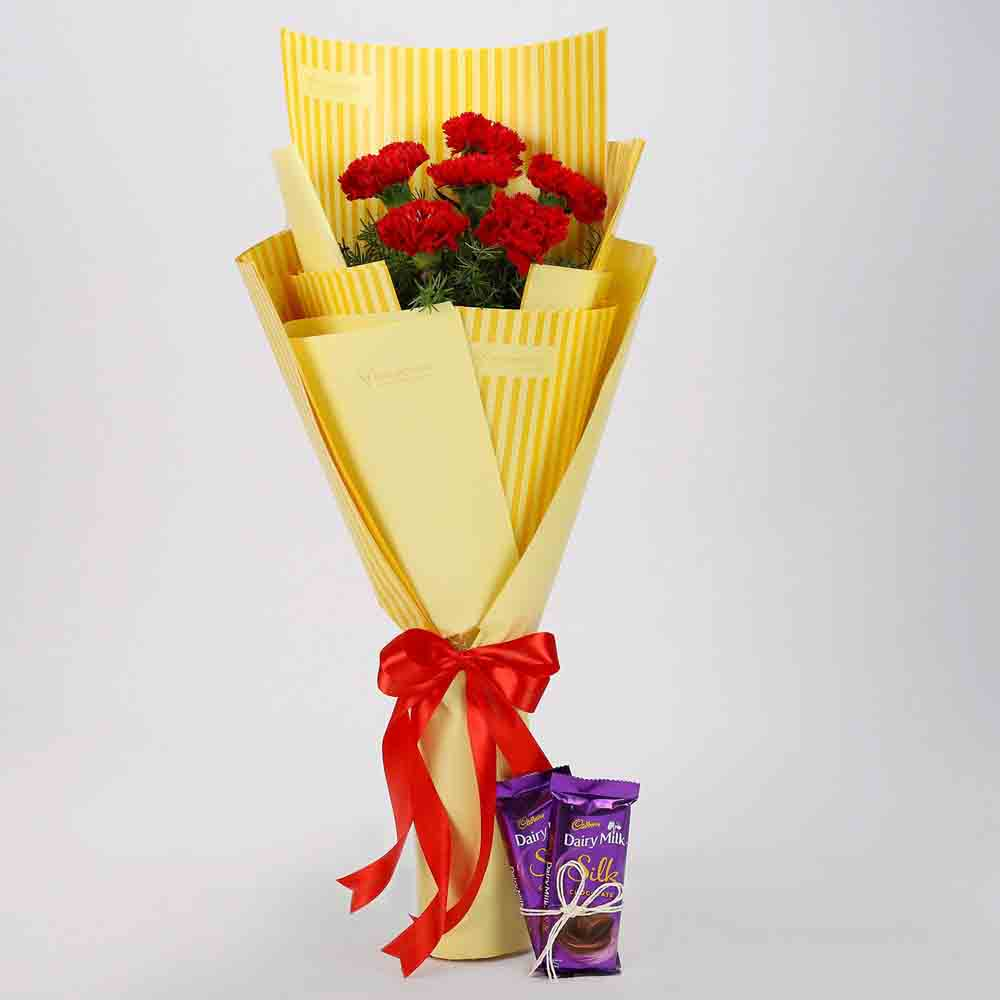 6 Red Carnations & Dairy Milk Silk Combo