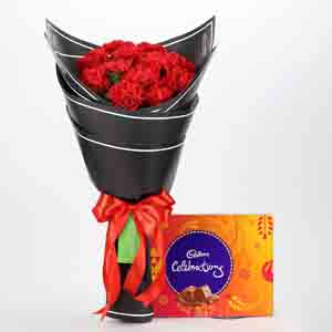 Chocolates & Flowers-Beautiful 12 Red Carnations & Celebrations Box