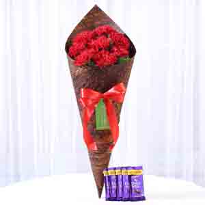 Chocolates & Flowers-8 Vibrant Red Carnations & Dairy Milk Combo