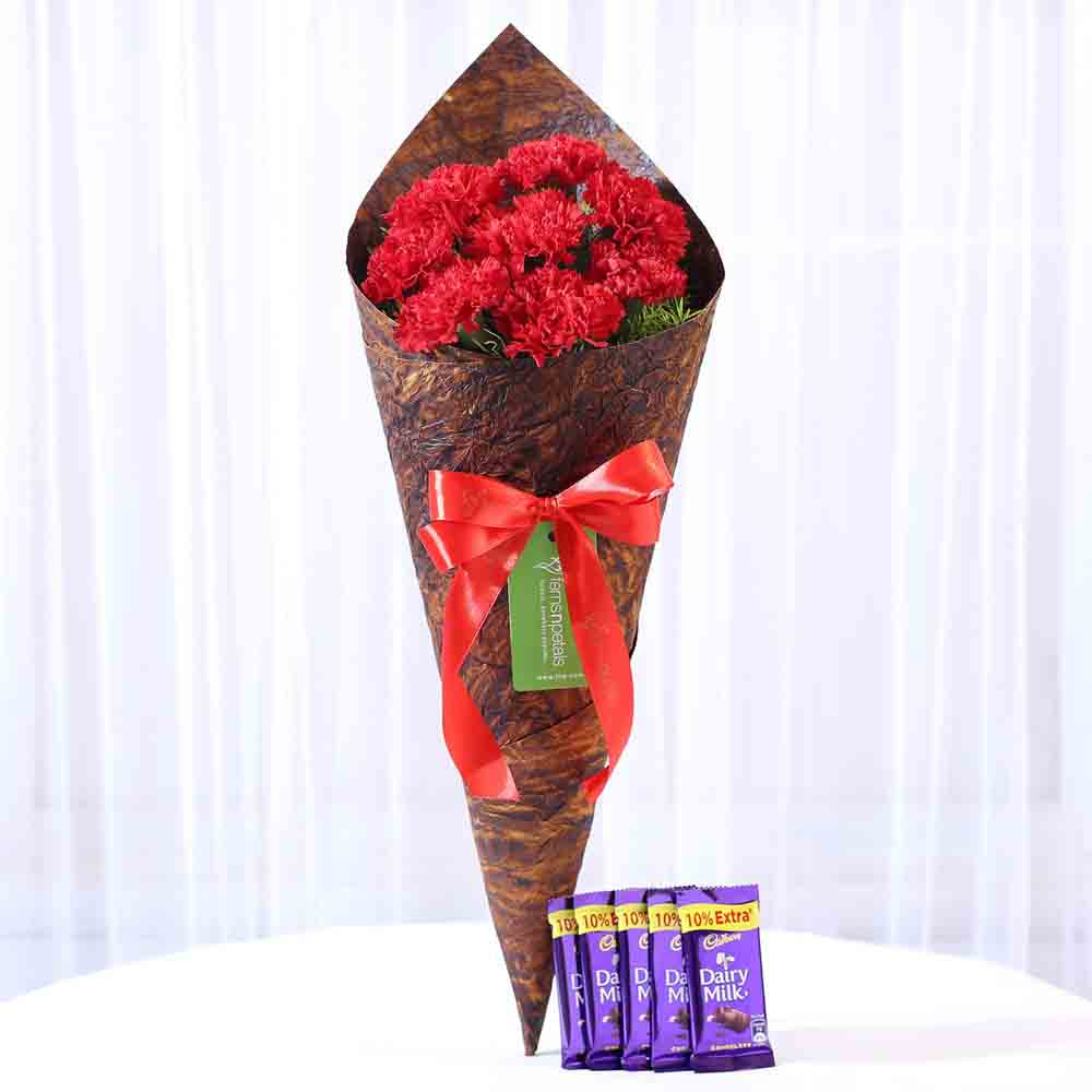 8 Vibrant Red Carnations & Dairy Milk Combo