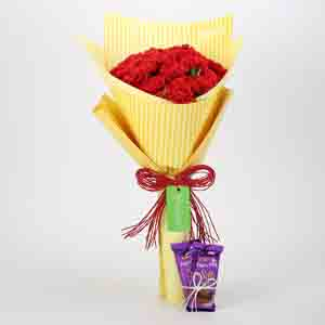 Chocolates & Flowers-20 Carnations Bouquet & Dairy Milk Silk Combo