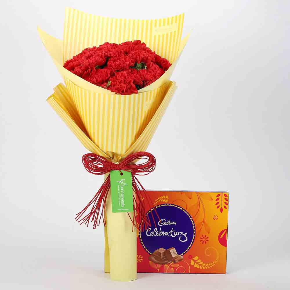 View 20 Carnations Bouquet & Celebrations Box