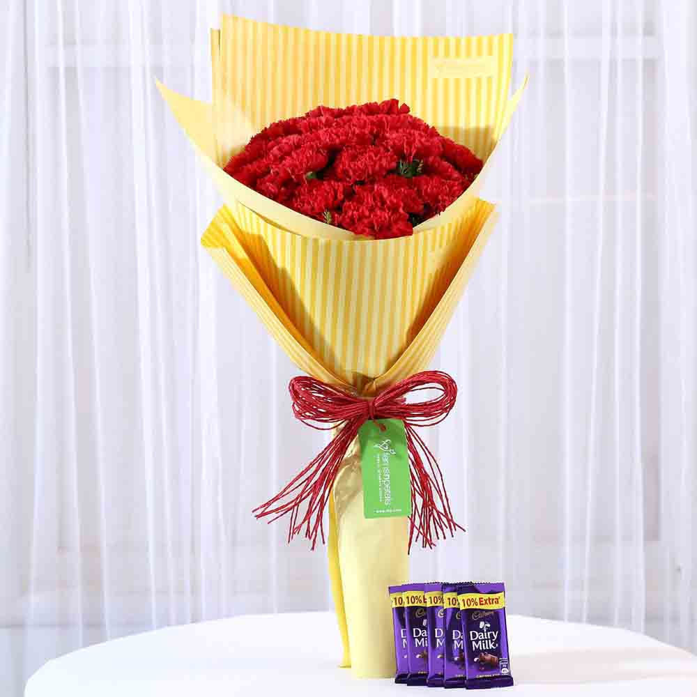 View 20 Carnations Bouquet & Dairy Milk Combo