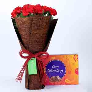 Chocolates & Flowers-12 Red Carnations Bouquet & Celebrations Box