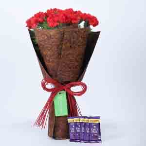 Chocolates & Flowers-12 Red Carnations Bouquet & Dairy Milk Combo