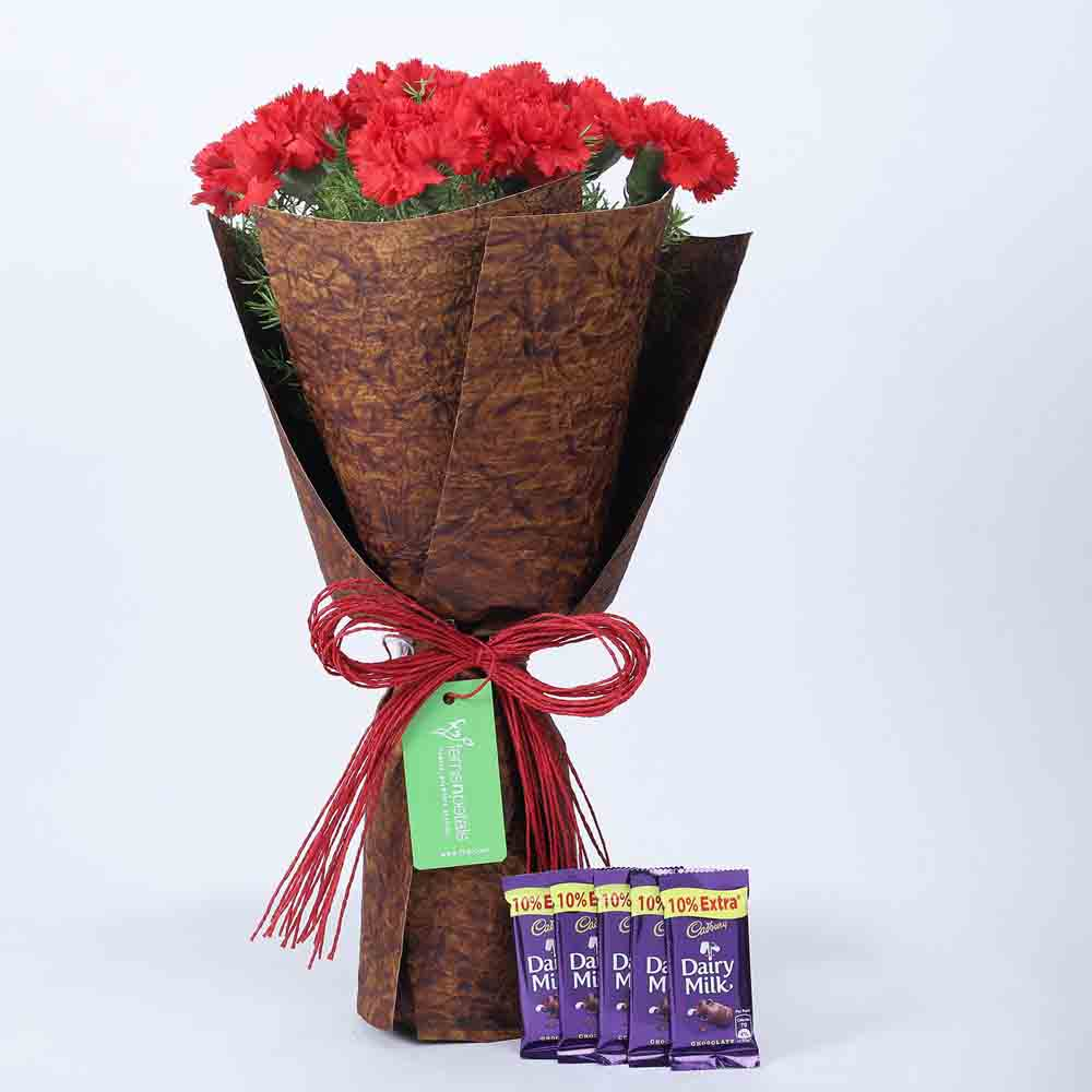 View 12 Red Carnations Bouquet & Dairy Milk Combo
