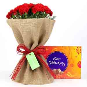 Chocolates & Flowers-Celebrations Box & 12 Red Carnations Bouquet