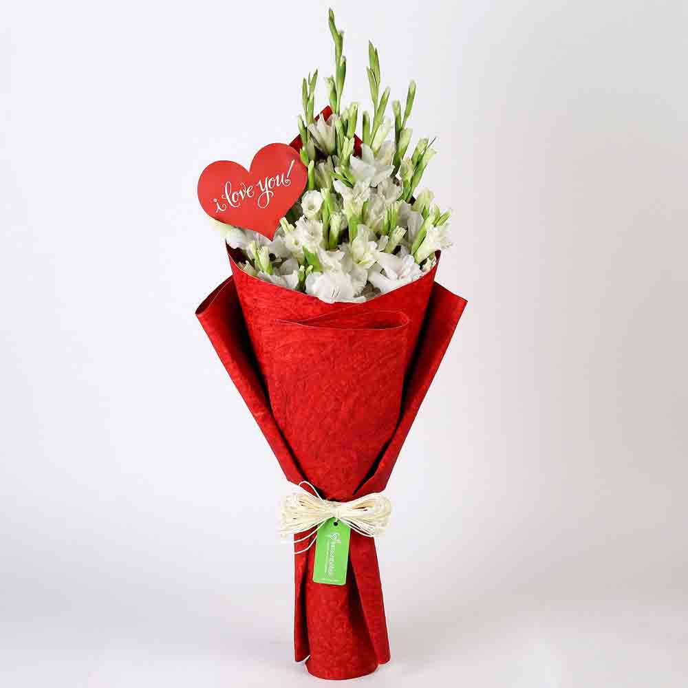 Lovely Gladiolus Bouquet in Red Paper