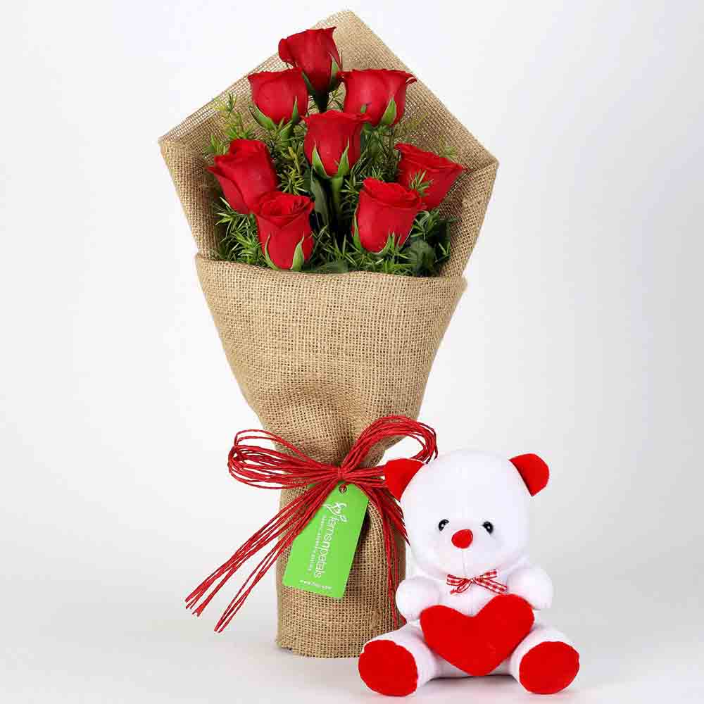 Soft Toy Hampers-8 Red Roses Bouquet & Teddy Bear