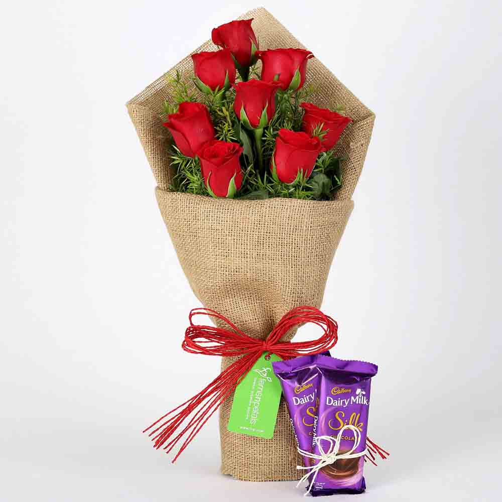 Chocolates & Flowers-8 Red Roses Bouquet & Dairy Milk Silk