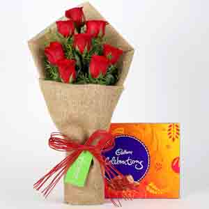 Chocolates & Flowers-8 Red Roses Bouquet & Cadbury Celebrations